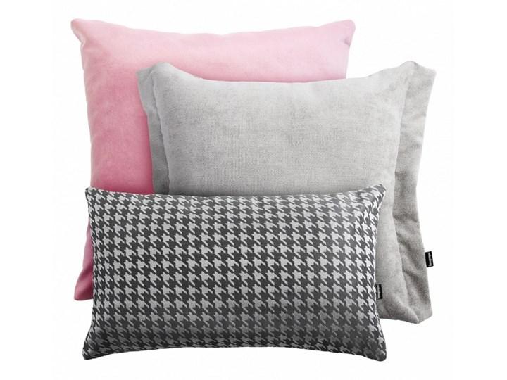 Różowo-szary zestaw poduszek Velvet + Pepitka + Pepper