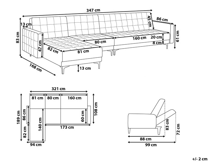 Narożnik rozkładany szary welurowy modułowy 4-osobowy z otomaną nowoczesna pikowana sofa do salonu z szezlongiem prawostronna Wysokość 83 cm Prawostronne Modułowe Szerokość 267 cm Materiał obicia Materiał pikowany