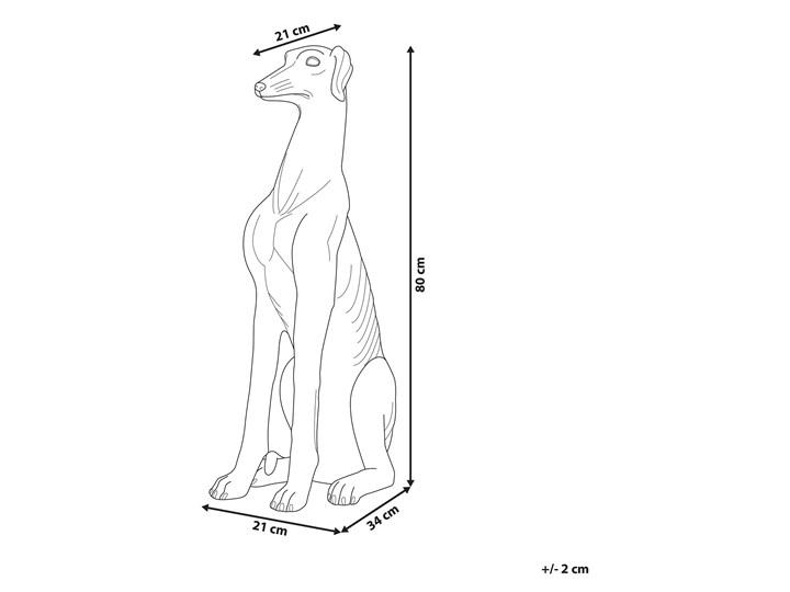 Figura dekoracyjna podłogowa srebrna pies chart 80 cm