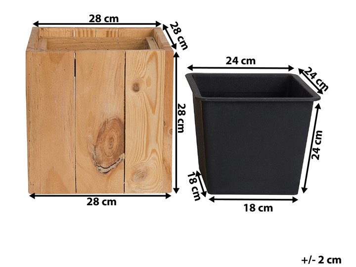 Doniczka z wkładem drewniana sosnowa 28 x 28 x 28 cm kwadratowa dekoracyjna do domu i na taras Doniczka na kwiaty Doniczka na zioła Drewno Kategoria Doniczki i kwietniki
