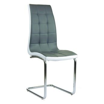 Pikowane krzesło na płozach Corso A szaro-białe