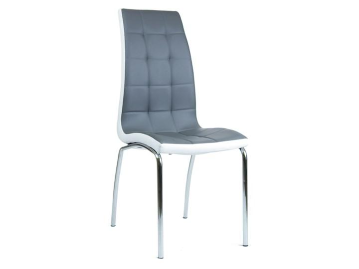 Eleganckie krzesło Corso B szaro-białe Metal Głębokość 54 cm Szerokość 42 cm Skóra Skóra ekologiczna Wysokość 101 cm Stal Kolor Szary