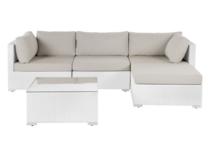 Meble ogrodowe białe - rattanowe - sofa rattanowa - SANO II Aluminium Aluminium Narożnik ogrodowy Technorattan Technorattan Materiał nóżek Aluminium