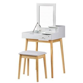 Skandynawska toaletka z lustrem i taboretem - Coletta