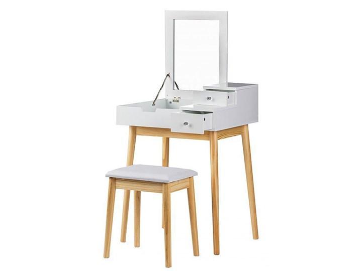 Skandynawska toaletka z lustrem i taboretem - Coletta Płyta meblowa Styl Vintage Bez lustra Drewno Styl Nowoczesny