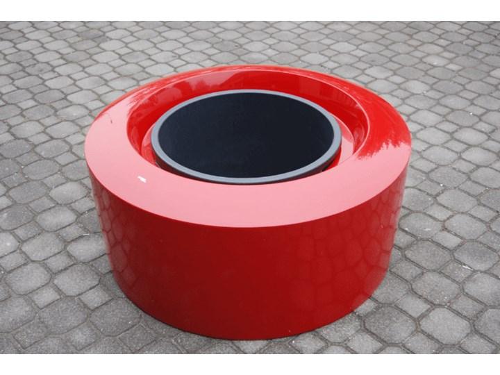 Podświetlana donica okrągła Kama Olib czerwona z wkładką i kółkami, zasilanie sieciowe 230V