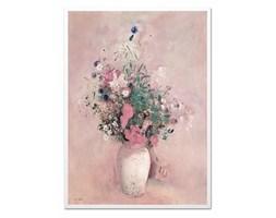 KWIATY ŁĄKI W WAZONIE obraz w białej ramie, 53x73 cm