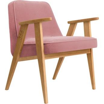 Fotel 366 Velvet Powder Pink dąb 02, proj. J. Chierowski