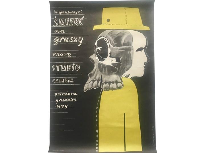 """Plakat teatralny """"Śmierć na gruszy"""", Teatr Studio, proj. J. Szajna, lata 70."""