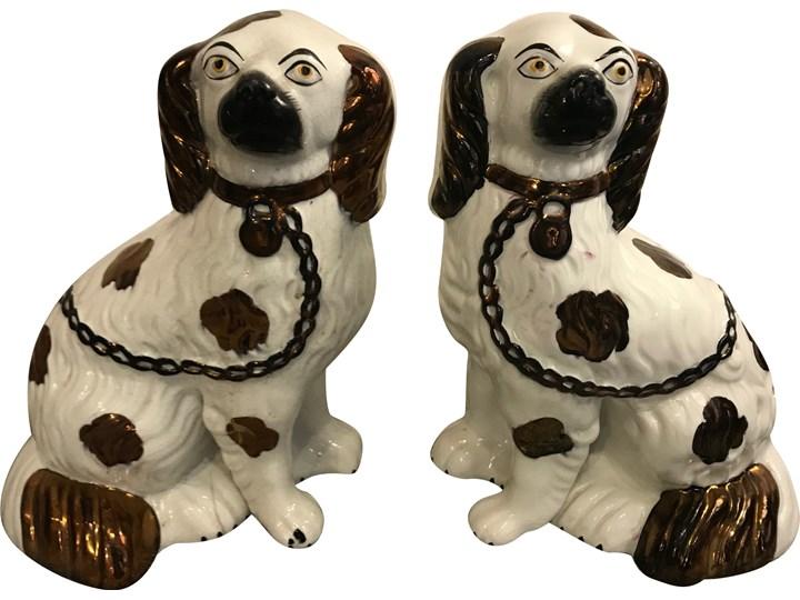 Para ceramiczny Spanieli, Staffordshire, Anglia, koniec XIX w. Ceramika Ceramika