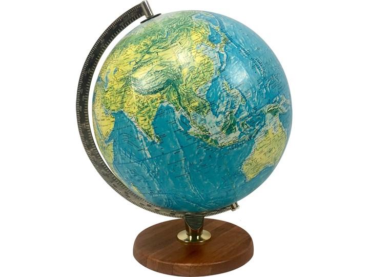 Podświetlany globus Scan-Globe na tekowej stopce, Dania, lata 70. Metal Globusy Metal Drewno Kula Drewno