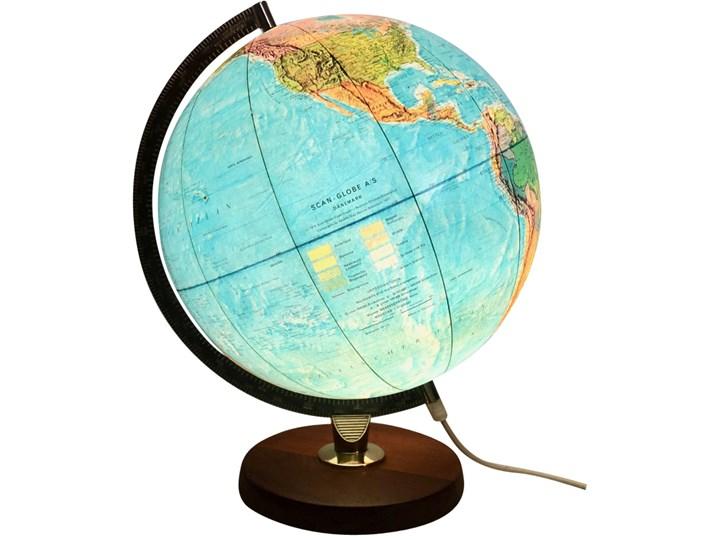 Podświetlany globus, Scan-Globe AS, Dania, lata 70. Kula Drewno Metal Globusy Metal Drewno
