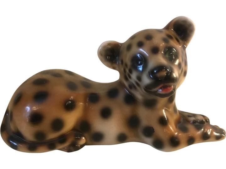 Ceramiczna figurka leoparda, lata 70. Ceramika Ceramika
