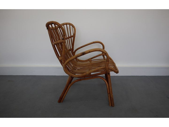 Rattanowy Fotel Lata 70