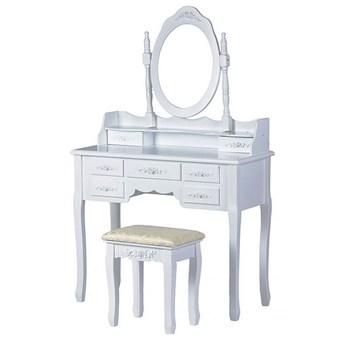 Romantyczna toaletka z lustrem i siedziskiem - Melinda 3X