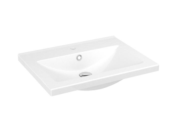 Umywalka ceramiczna GoodHome Nira 60 cm z syfonem Prostokątne Ceramika Kategoria Umywalki Kolor Biały