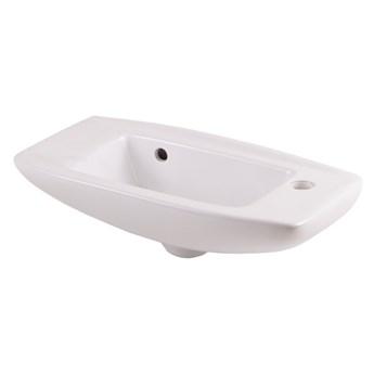 Umywalka ścienna ceramiczna GoodHome Musi 50,5 x 24 cm z otworem na armaturę biała