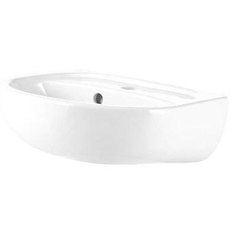 Umywalka ścienna ceramiczna Koło Solo 40 x 33 cm biała z otworem na armaturę