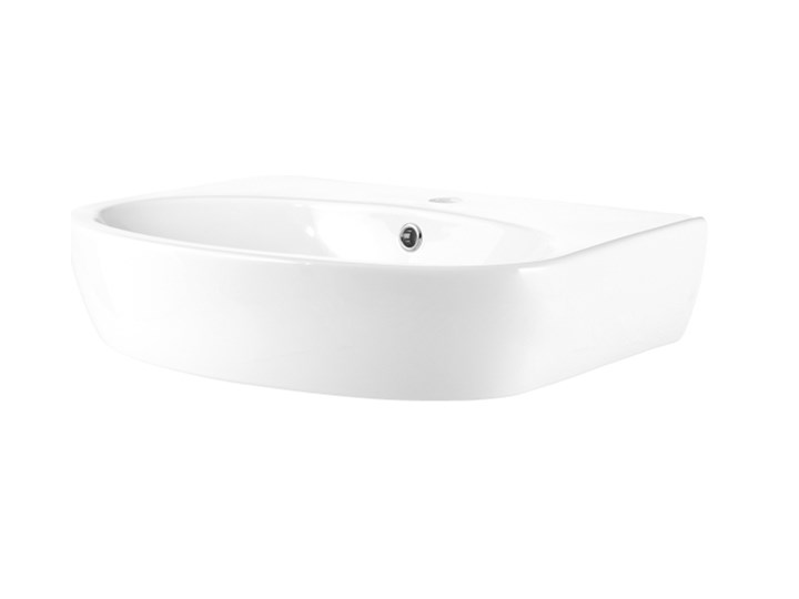 Umywalka ścienna GoodHome Lugana 60 x 46 cm z otworem na armaturę Szerokość 60 cm Podwieszane Półokrągłe Kategoria Umywalki Kolor Biały