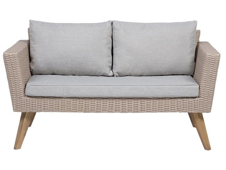 Zestaw mebli ogrodowych 4-osobowy wypoczynkowy szaro-brązowy technorattan sofa dwa fotele poduszki stolik kawowy Zestawy wypoczynkowe Tworzywo sztuczne Zestawy kawowe Stal Kategoria Zestawy mebli ogrodowych