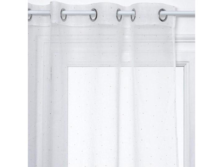 Zasłona okienna na przelotkach, nowoczesna firana, kolor biały z nadrukiem w kropki, 140 x 240 cm