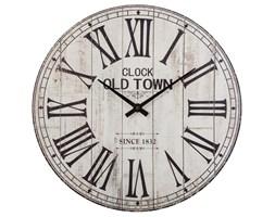Zegar na ścianę drewniany z rzymskimi cyframi, zegar w starym stylu, biały, Ø 38 cm