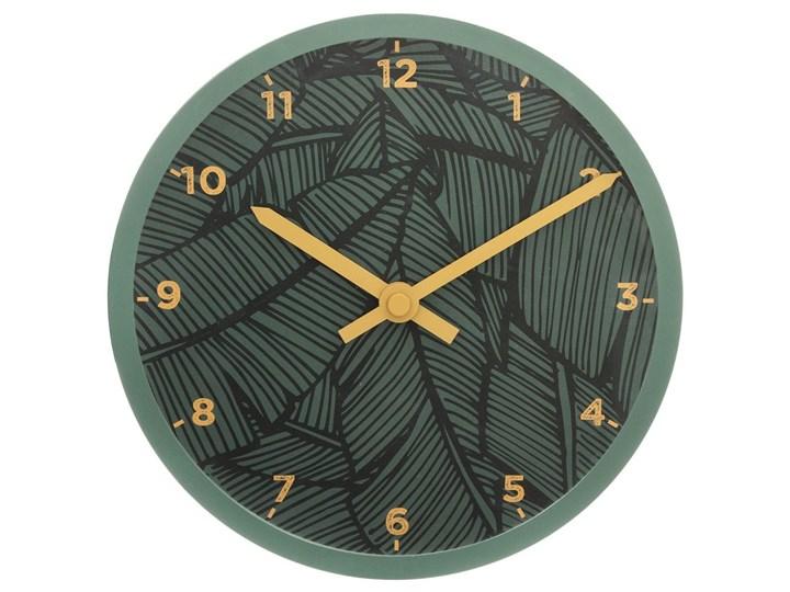 Zegar do pokoju dziecięcego, ścienny, wskazówkowy, zielony z motywem liści, Ø 22 cm