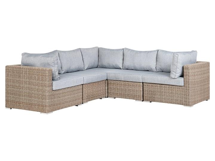 Zestaw mebli ogrodowych brązowy rattan szare poduchy modułowy narożnik fotel stolik kawowy Aluminium Tworzywo sztuczne Zestawy modułowe Zestawy kawowe Technorattan Zestawy wypoczynkowe Zawartość zestawu Fotele