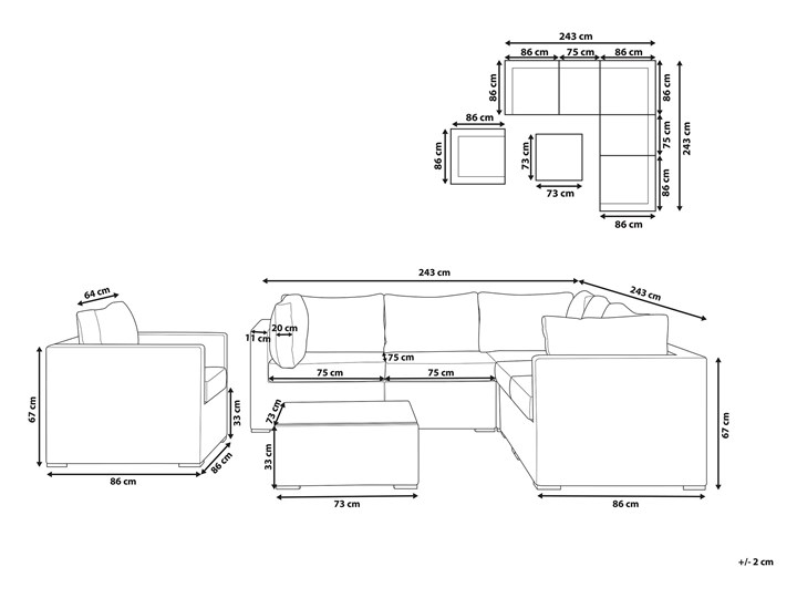 Zestaw mebli ogrodowych brązowy rattan szare poduchy modułowy narożnik fotel stolik kawowy Zestawy modułowe Technorattan Tworzywo sztuczne Aluminium Zestawy kawowe Zestawy wypoczynkowe Styl Nowoczesny Kategoria Zestawy mebli ogrodowych