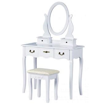 Biała klasyczna toaletka z siedziskiem - Lorena 2X