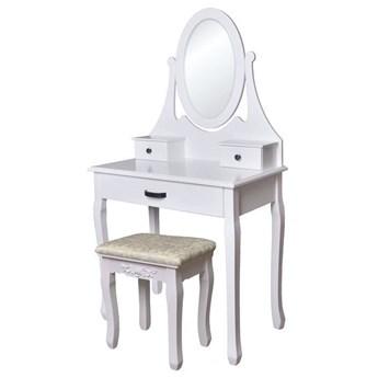 Minimalistyczna toaletka z lustrem i taboretem - Lorena 5X