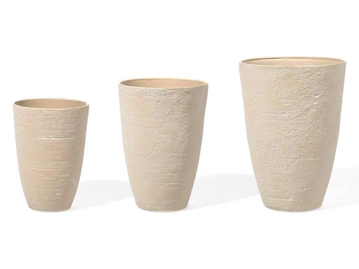Doniczki zestaw 3 szt. beżowe CAMIA Plastik Kamień Włókno szklane