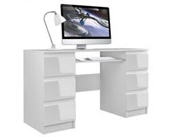 Biurko komputerowe Kuba, szerokość 130 cm, białe z połyskiem