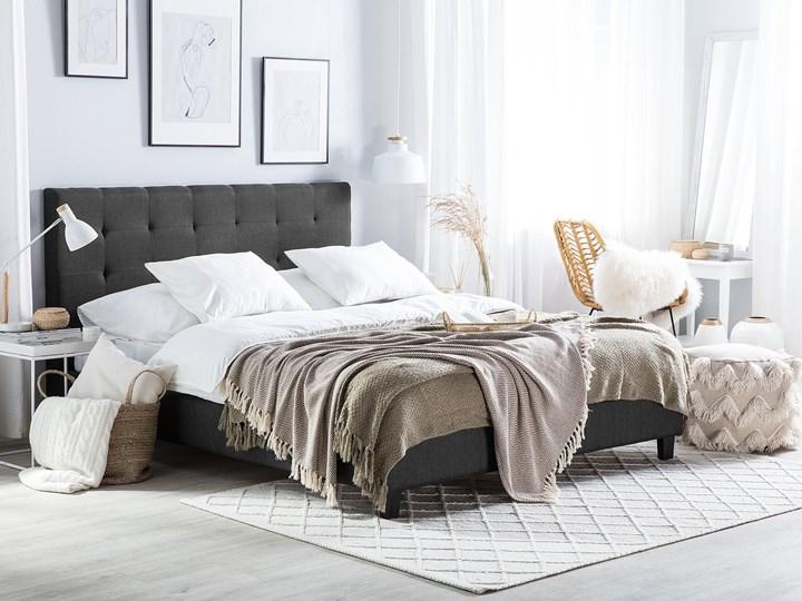 Łóżko ciemnoszare tapicerowane 160 x 200 cm z pojemnikiem i stelażem pikowany zagłówek Łóżko tapicerowane Kategoria Łóżka do sypialni