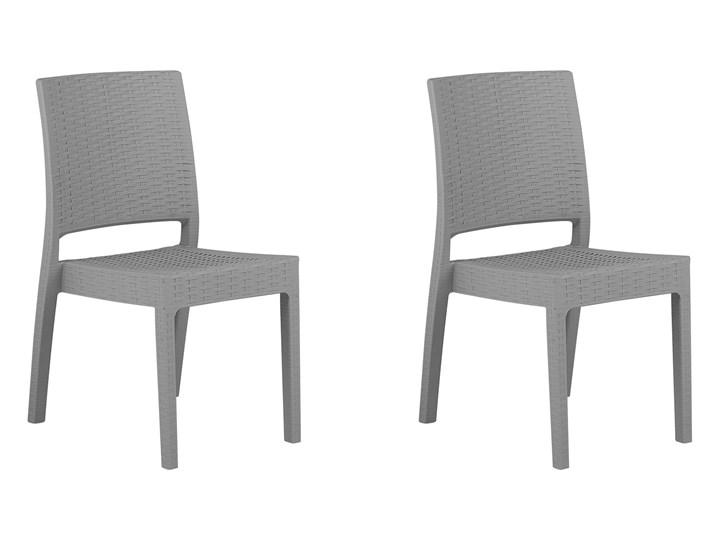 Zestaw 2 krzeseł ogrodowych jasnoszary tworzywo sztuczne sztaplowane na taras do ogrodu Krzesła tradycyjne Styl Nowoczesny Styl Minimalistyczny