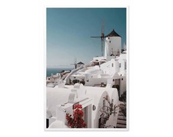 GRECKA WYSPA I WIATRAK obraz w białej ramie, 63x93 cm