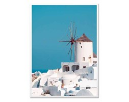 GRECKA ARCHITEKTURA I WIATRAK obraz w białej ramie, 53x73 cm