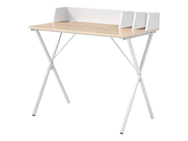 Biurko Teroth na stalowej podstawie z funkcjonalnymi przegródkami dębowo-białe