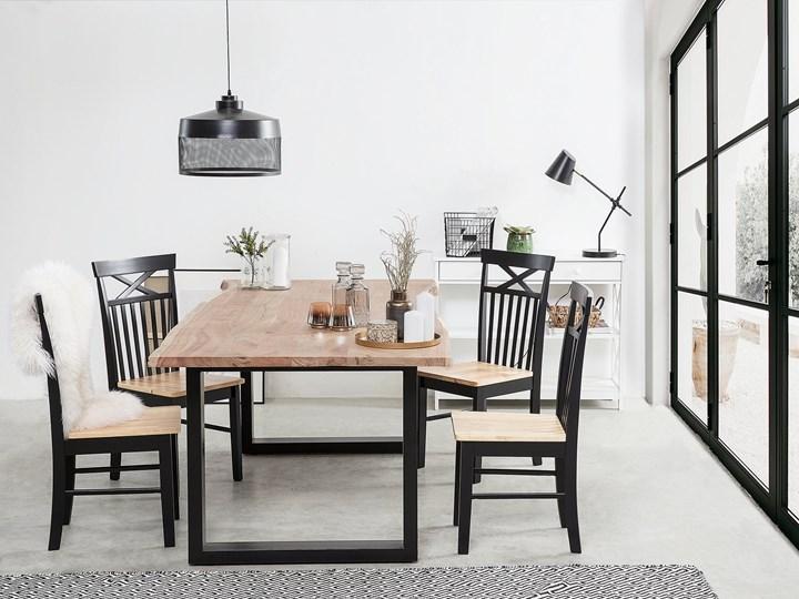 Stół do jadalni drewniany blat nieregularny czarne metalowe nogi 180 x 94 cm styl industrialny Długość 180 cm  Styl Nowoczesny Drewno Kategoria Stoły kuchenne