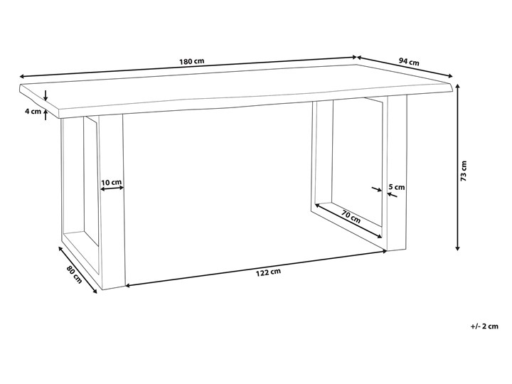 Stół do jadalni drewniany blat nieregularny czarne metalowe nogi 180 x 94 cm styl industrialny Drewno Długość 180 cm  Styl Skandynawski