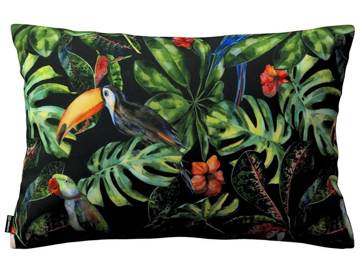 Dekoria Poszewka Kinga na poduszkę prostokątną, papugi i tukany na czarnym tle, 60 × 40 cm, Velvet