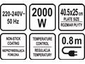 GRILL STOŁOWY ELEKTRYCZNY 2000W 2W1 40,5X25CM Lund 67455 Grill elektryczny Moc [W] 1501 - 2000 W