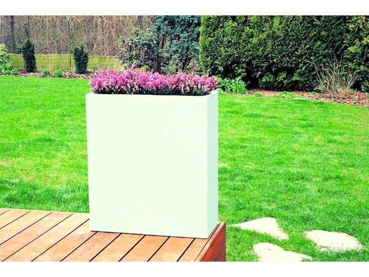 Podświetlana prostokątna donica z włókna szklanego Kama Wall, biała, bezprzewodowa