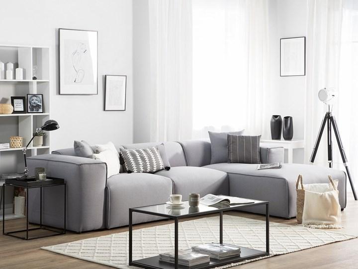 Narożnik lewostronny jasnoszary 3-osobowy 3 poduszki dekoracyjne styl nowoczesny Rozkładanie