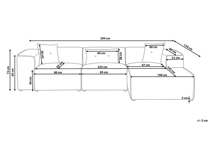 Narożnik lewostronny beżowy 3-osobowy 3 poduszki dekoracyjne styl nowoczesny