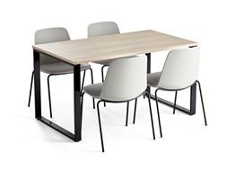 Zestaw do stołówki MODULUS + LANGFORD, stół + 4 krzesła szary