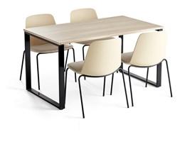 Zestaw do stołówki MODULUS + LANGFORD, stół + 4 krzesła żółty