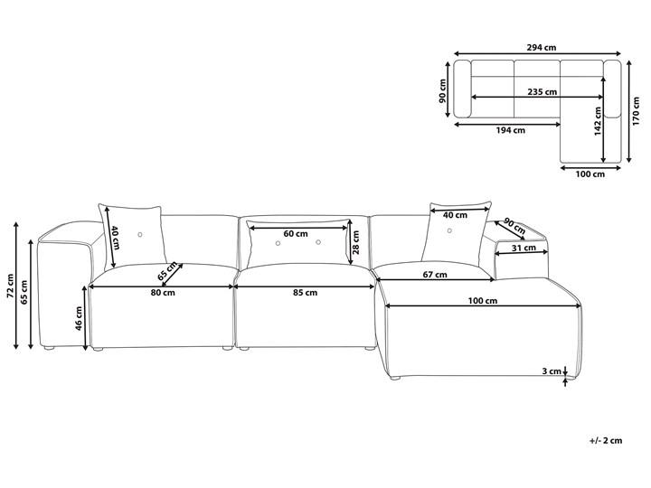Narożnik lewostronny jasnoszary 3-osobowy 3 poduszki dekoracyjne styl nowoczesny Nóżki Bez nóżek