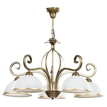 WIVARA 5 GOLD 149/5 klasyczny duży żyrandol szklane białe klosze dużo światła