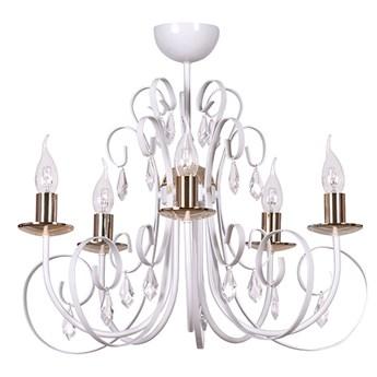 FOREMAN 5 WHITE 315/5 piękny klasyczny żyrandol kryształki biały miedziane elementy